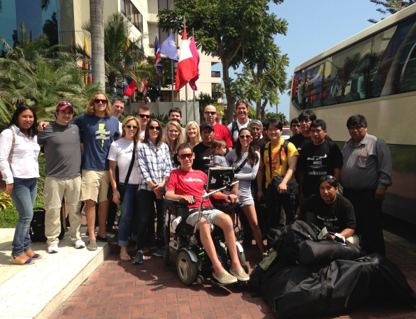Team Gleason with Peruvian Porters and the NFL film crew.